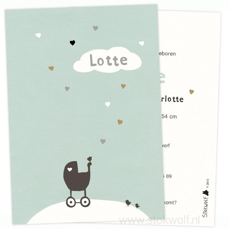 Birth card 'hearts' (ice blue)