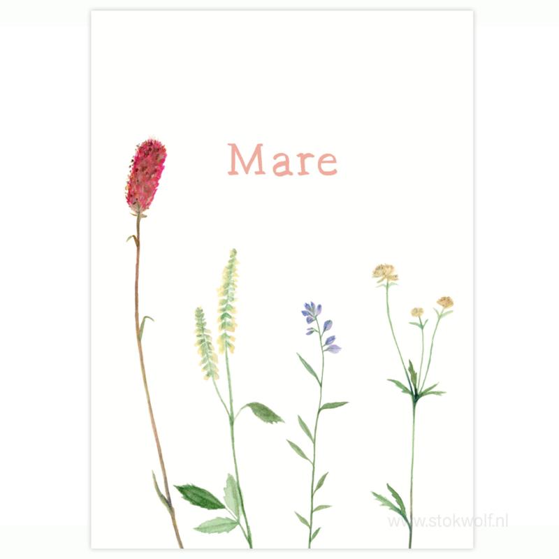 geboortekaartje   Wilde bloemen roze