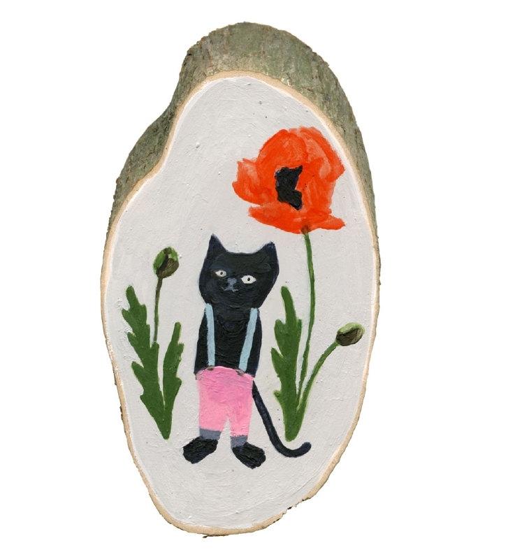 Cat and poppy