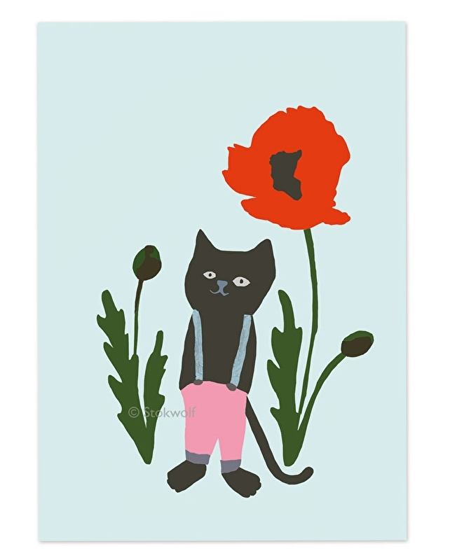 postcard 'cat and poppy (blue)'