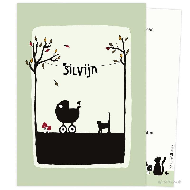 Cat and bird autumn (avocado)