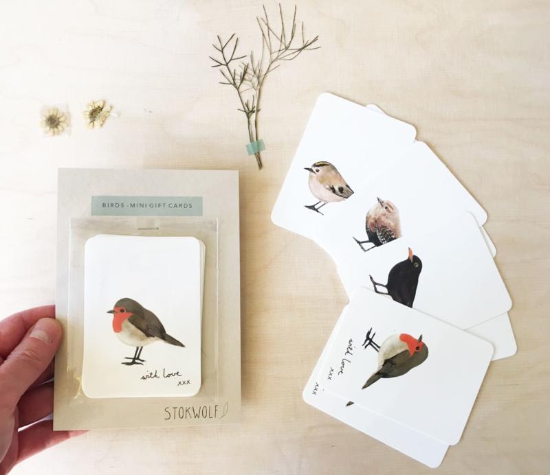 mini kaartjes   Vogels (set)