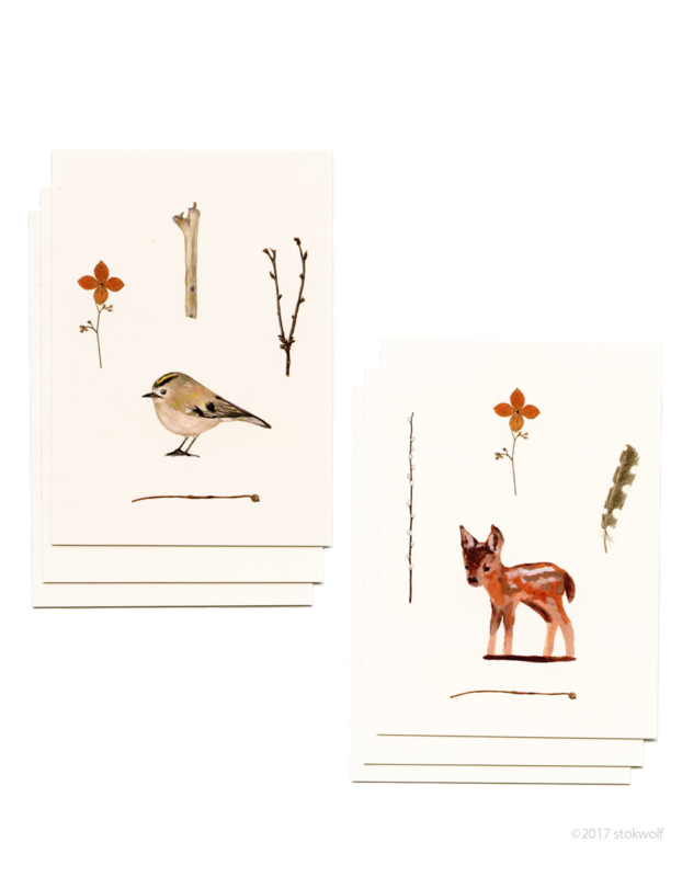 Mini cards and envelop | deer & gold crest (set)