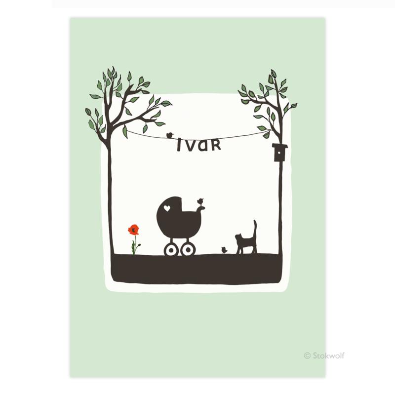 geboortekaartje | Poes en vogel zomer (mint)