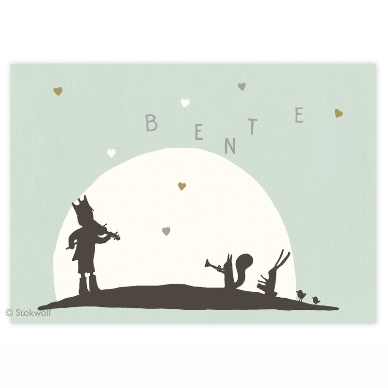 geboortekaartje | Fanfare hartjes (groen-blauw)