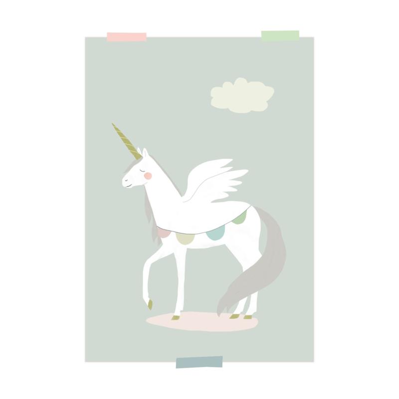 print   Eenhoorn (blauw)