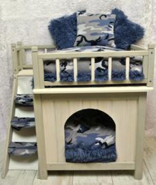 Kussens set voor huisje shaggyblauw