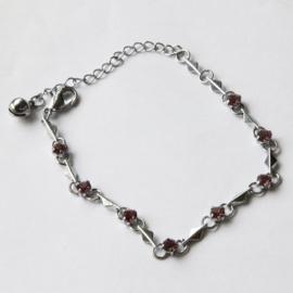 Zilver Armbandje met kristal strass Paarse Steentjes S9842
