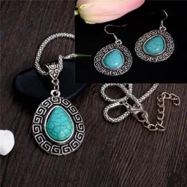 Bohemian stijl ketting & oorbellen turquoise Druppel  Steen S8838