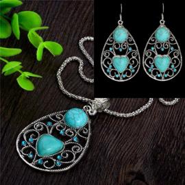 Bohemian stijl ketting & oorbellen turquoise Hartje Steen S8825