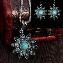 Bohemian stijl ketting & oorbellen turquoise Bloem  S8823