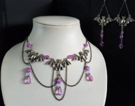 Zilveren/ Lila Vleermuis Gothic Lolita Ketting& OorbellenS92044