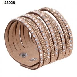 Beige  Suède / Leer Wrap Armband met Rhinestone S8028