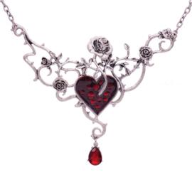 Gothic Lolita ketting  met rood hart en rozen 9199