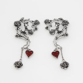 Gothic Lolita Oorbellen Rozen & Rode hart S9202