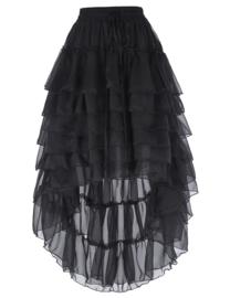 Zwarte  Victoriaanse Gothic Steampunk Chiffon Kanten Rok  3XL   K1514