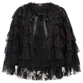 Zwart Gothic Lolita Victoriaanse Kante  Poncho cape XL  K1636