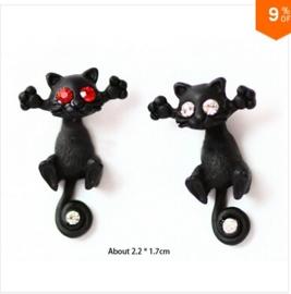 Gothic Lolita Steampunk Oorbel Ear Stud Zwarte / Witte Kat S3613