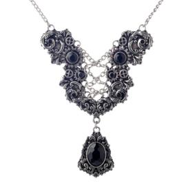 Zwart / Zilveren Steampunk Gothic Lolita Victoriaanse Ketting S9851