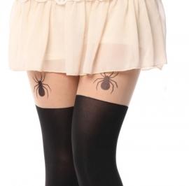 Gothic Lolita jarretel panty zwart met Grote Spin K607