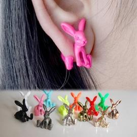 Gothic Lolita Steampunk Oorbel Ear Stud Roze Konijn S3631