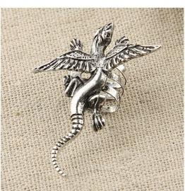 Zilveren  Vliegende Draak Oorschelp Oorbel S407
