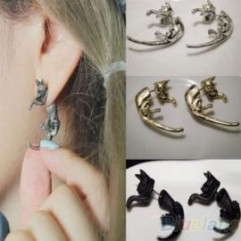 Gothic Lolita Steampunk Oorbel Ear Stud Zilveren Kat S3576