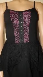 Zwart / Roze Gothic lolita Victoriaanse Kante Top Tuniek S K84