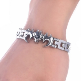 Stainless Steel Schakel Armband met Skull Vleermuis S8751