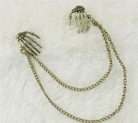 Gothic ,Lolita Skelet Skull Doodshoofd Hand  Broches S3597