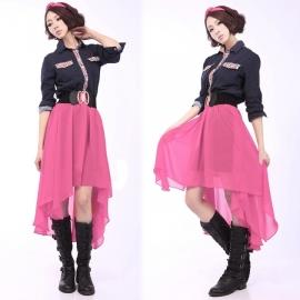 Pink Roze Bohemia Beach Lolita Rok Kort & Achter Lang L  252