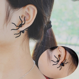 Gothic Lolita Steampunk Oorbel Ear Stud Zwart Spin S7990