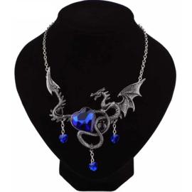 Gothic Lolita draken ketting  met Blauw Hart  Blauw  S9205