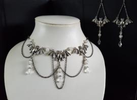 Zilveren/ Wit Vleermuis Gothic Lolita Ketting& OorbellenS92043