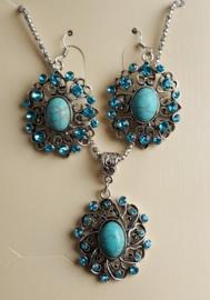 Bohemian Gypsy Blauw Setje Ketting Armband & Oorbellen S87030