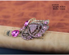 Victoriaanse Brocante Broches Roze Vlinder met Steentjes S9916