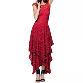 Mooie Gothic Lolita lange Rood  Kanten jurk  Mt: S K1701