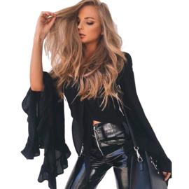 Sexy Zwarte Top Vestje met uitlopende geplooide mouwen  XL   K1493