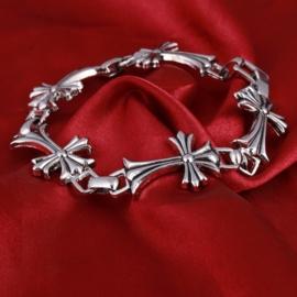 Stainless Steel Schakel Armband met Zilveren Kruis S8752