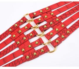 Rood / Goud Brede Korset Taille Riem met ronde studs en O-ringen K1531