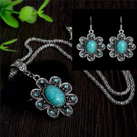 Bohemian stijl ketting & oorbellen turquoise Bloem S8854