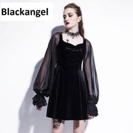 Gothic Lolita Victoriaanse Zwarte Fluwelen Jurk met organza mouwen S  K1602