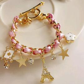 Goud Roze Zwarte Armband met Bedels Lint & Strass stenen S91944