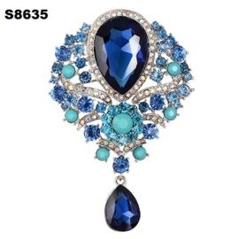 Victoriaanse Brocante Barok Broches Blauw Stenen & Strass S8635