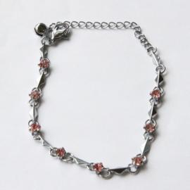 Zilver Armbandje met Roze kristal strass Steentjes S9845
