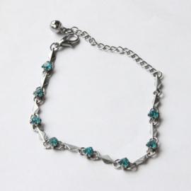Zilver Armbandje met  Blauwe kristal strass Steentjes S9841