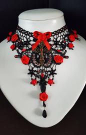 Zwarte Rood kante Gothic Lolita Victoriaanse Ketting choker S91961
