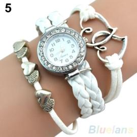 Zilveren Wit  Leren Armband Horloge met Bedel  S3369