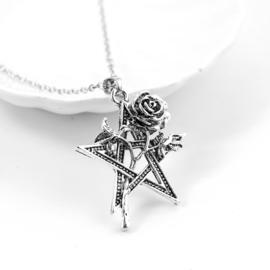 Gothic Lolita pentagram met zilveren Roos ketting S9204