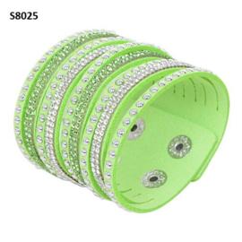 Lime Groen  Suède Wrap Armband met Rhinestone S8025